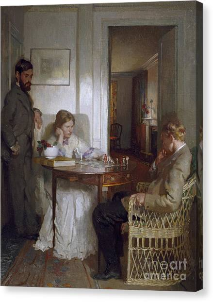 Worried Canvas Print - The Chess Players by Sir William Orpen