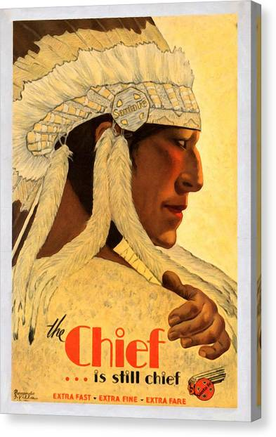The Chief Train - Vintage Poster Restored Canvas Print