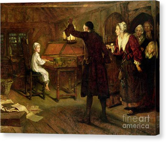 Nightgowns Canvas Print - The Child Handel Discovered By His Parents by Margaret Isabel Dicksee