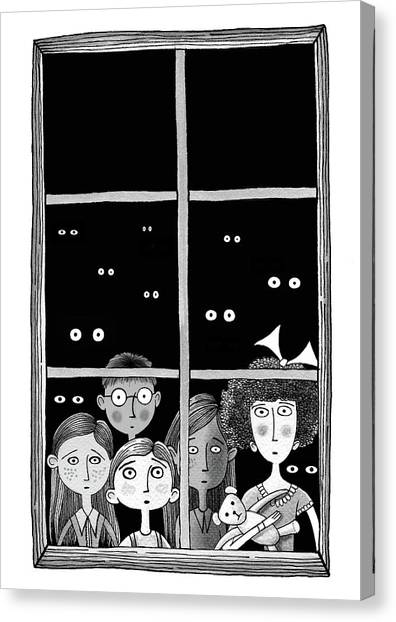 Teddy Bears Canvas Print - The Children In The Window by Andrew Hitchen