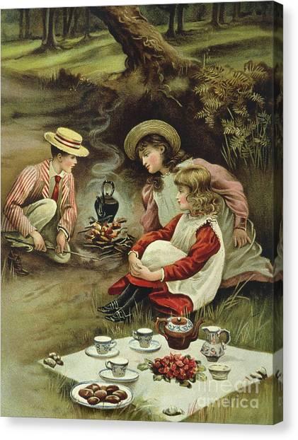 Victorian Garden Canvas Print - The Children's Picnic by English School