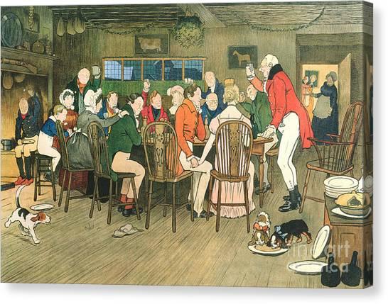 Dinner Table Canvas Print - The Christmas Dinner At The Inn by Cecil Charles Windsor Aldin