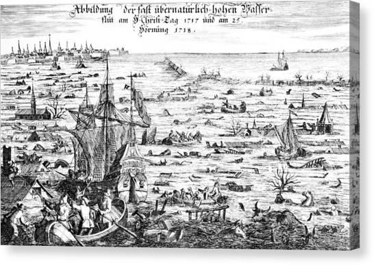 Flooding Canvas Print - The Christmas Flood by Dutch School