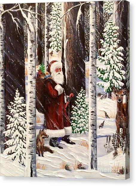 The Christmas Forest Visitor 2 Canvas Print