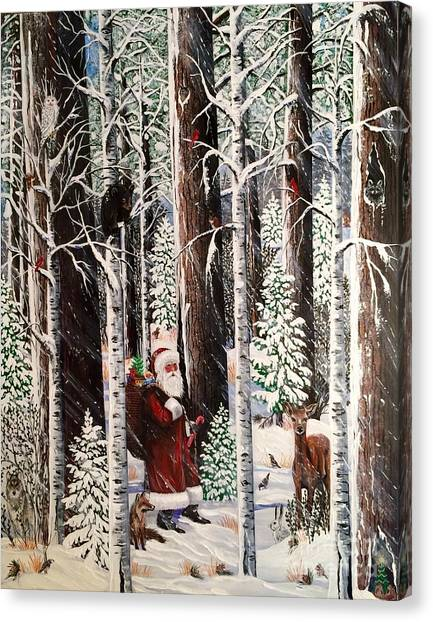 The Christmas Forest Visitor Canvas Print