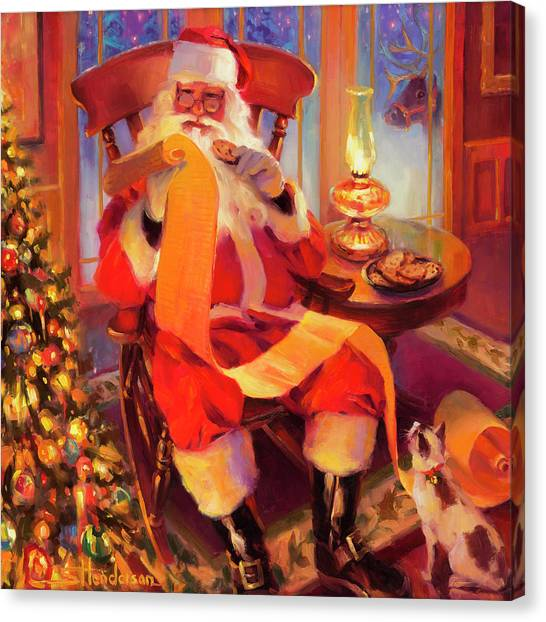 Siamese Canvas Print - The Christmas List by Steve Henderson