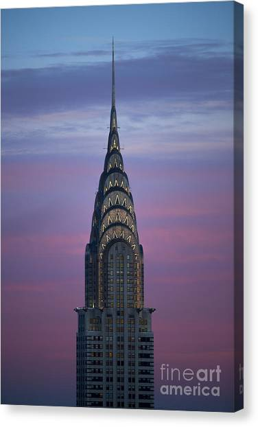 City Sunsets Canvas Print - The Chrysler Building At Dusk by Diane Diederich