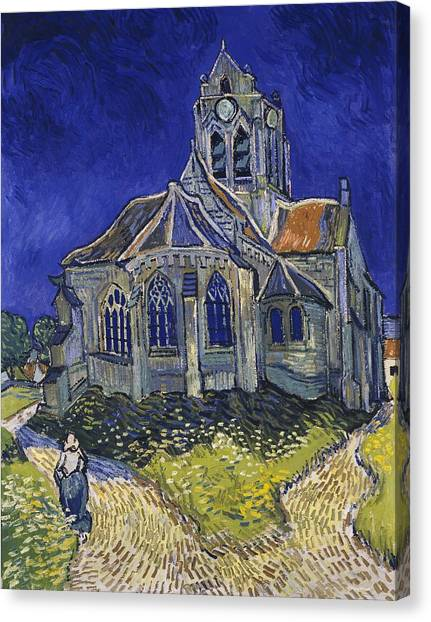 Canvas Print featuring the painting The Church At Auvers by Van Gogh