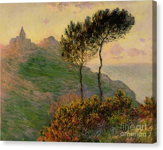 The Trees Canvas Print - The Church At Varengeville Against The Sunlight by Claude Monet