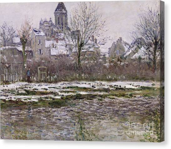 Snow Bank Canvas Print - The Church At Vetheuil Under Snow by Claude Monet