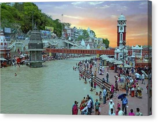 Hinduism Canvas Print - The City Haridwar With The Holy River by Worldfotoart  Masselink