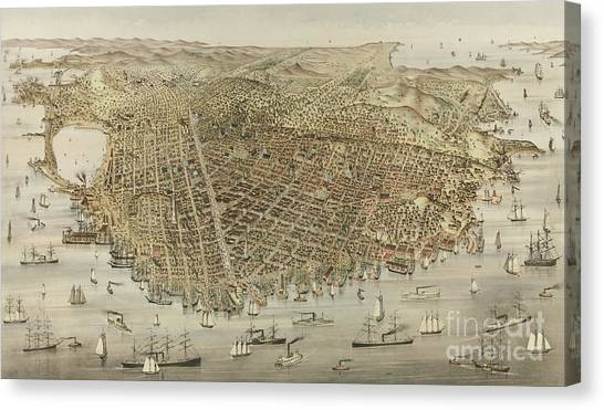 Currier And Ives Canvas Print - The City Of San Francisco by Currier and Ives