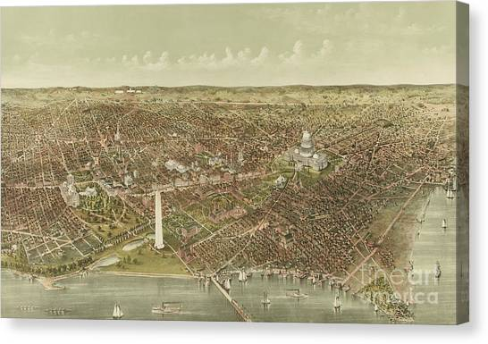 Currier And Ives Canvas Print - The City Of Washington by Currier and Ives
