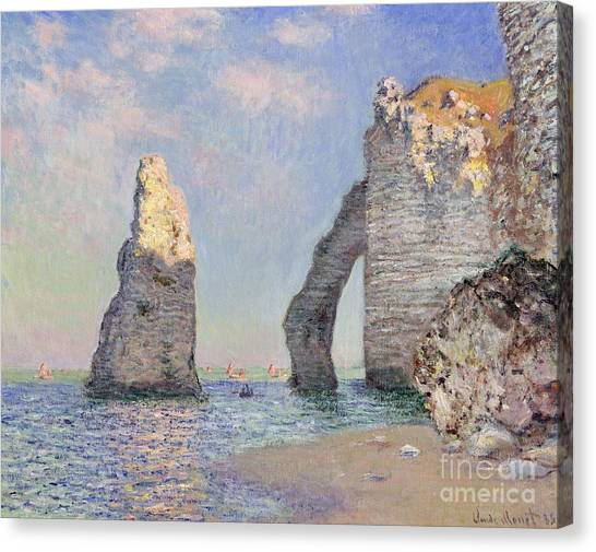 Cliffs Canvas Print - The Cliffs At Etretat by Claude Monet