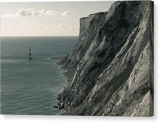 The Cliffs Of Beachy Head And The Lighthouse Canvas Print by Luka Matijevec