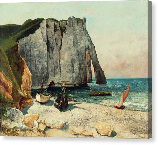 Etretat Canvas Print - The Cliffs Of Etretat, The Port Of Avale, 1869 by Gustave Courbet