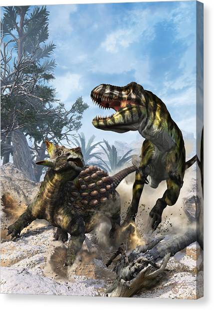 Tyrannosaurus Canvas Print - The Clubbed Tail by Kurt Miller