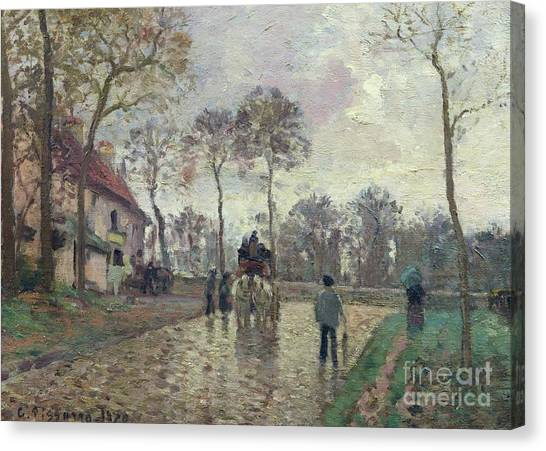 Camille Canvas Print - The Coach To Louveciennes by Camille Pissarro