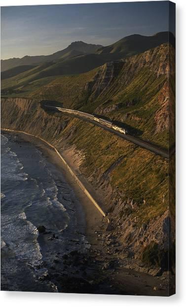 Amtrak Canvas Print - The Coast Starlight Train Snakes by Phil Schermeister