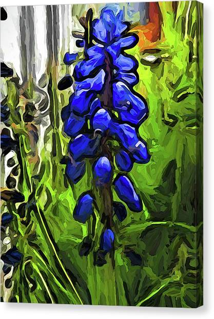 The Cobalt Blue Flowers And The Long Green Grass Canvas Print