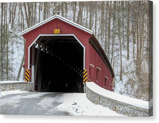 The Colemansville Covered Bridge In Winter Canvas Print