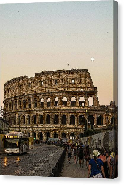 The Coliseum And The Full Moon Canvas Print