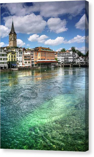 Romanesque Art Canvas Print - The Colorful Limmat River Zurich Switzerland  by Carol Japp
