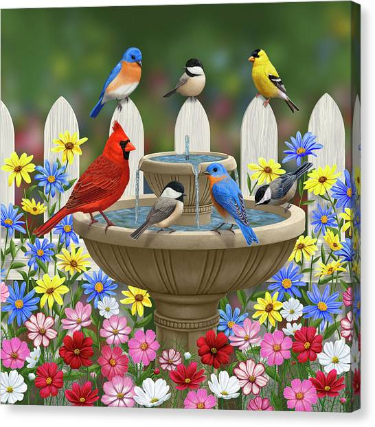Chickadee Canvas Print - The Colors Of Spring - Bird Fountain In Flower Garden by Crista Forest