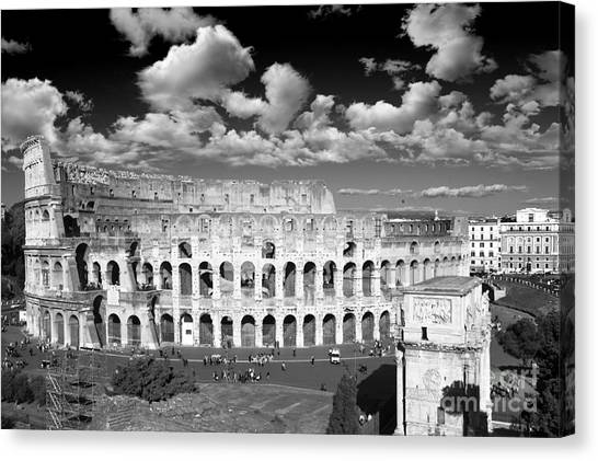The Colosseum Canvas Print - The Colosseum Black And White - Rome by Stefano Senise