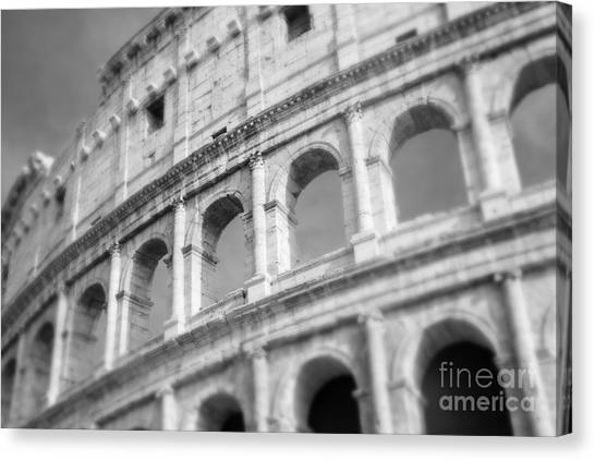 The Colosseum Canvas Print - The Colosseum In Black And White by Sonja Quintero