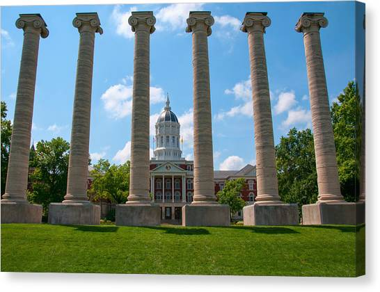 University Of Missouri Canvas Print - The Columns by Steve Stuller