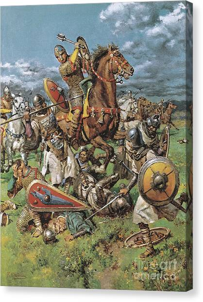 English Horse Canvas Print - The Coming Of The Conqueror by Fortunino Matania