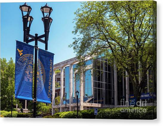 West Virginia University Wvu Canvas Print - The Commencement Banner At The Mountainlair Student Union At West Virginia University  by Kenneth Lempert