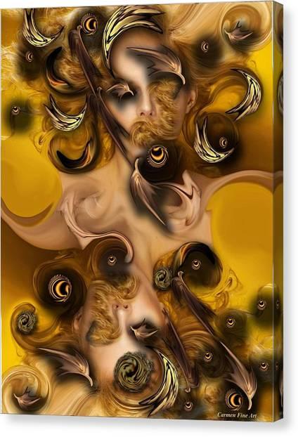 Canvas Print featuring the digital art The Complex Angel by Carmen Fine Art