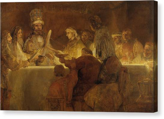 Rembrandt Canvas Print - The Conspiracy Of The Batavians Under Claudius Civilis by Rembrandt