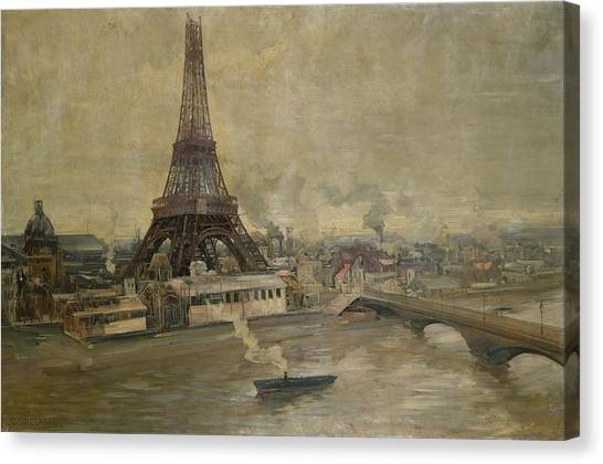 Pollution Canvas Print - The Construction Of The Eiffel Tower by Paul Louis Delance