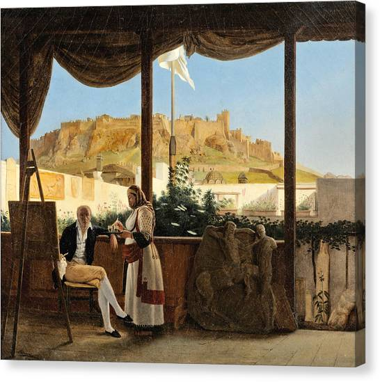 The Acropolis Canvas Print - The Consul Louis Fauvel Painting. The Acropolis At The Background by Louis Dupre