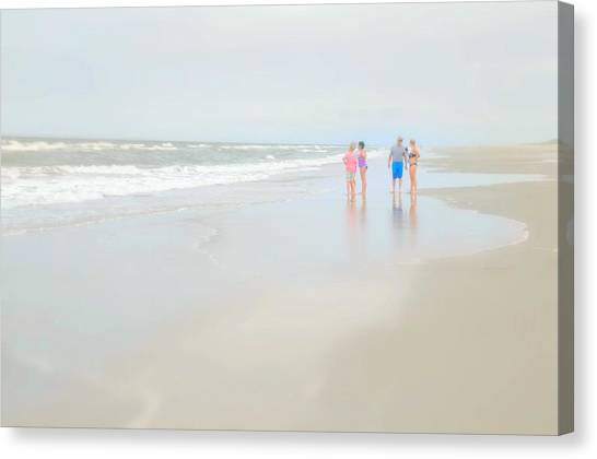 People Walking On Beach Canvas Print - The Conversation by Diana Angstadt