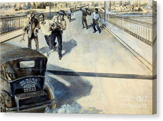 Illegal Aliens Canvas Print - The Cop Who Raided Mexico Circa 1935 El Paso Texas by Peter Ogden