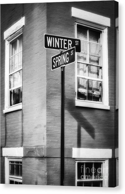 The Corner Of Winter And Spring Bw Canvas Print