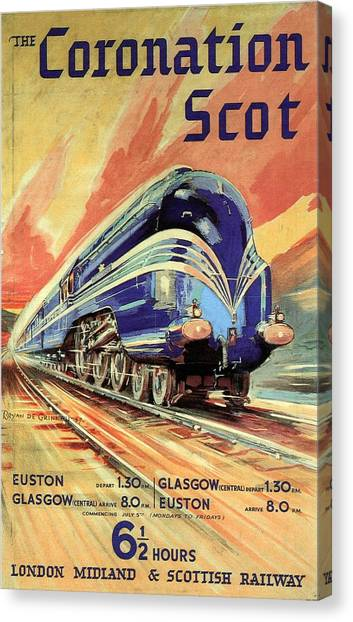 The Coronation Scot - Vintage Blue Locomotive Train - Vintage Travel Advertising Poster Canvas Print