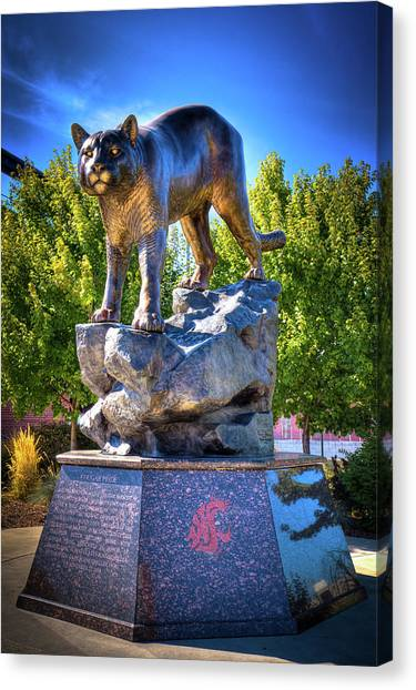 Washington State University Canvas Print - The Cougar Pride Sculpture by David Patterson
