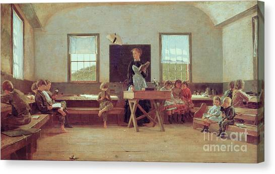 Teachers Canvas Print - The Country School by Winslow Homer