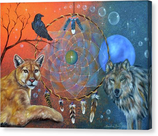 Wolf Moon Canvas Print - The Courage To Be Free by Sundara Fawn