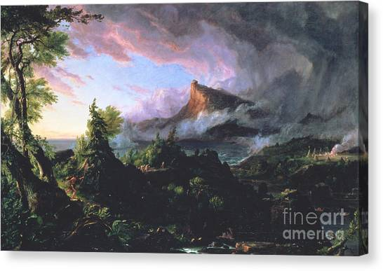 Prehistoric Canvas Print - The Course Of Empire - The Savage State by Thomas Cole