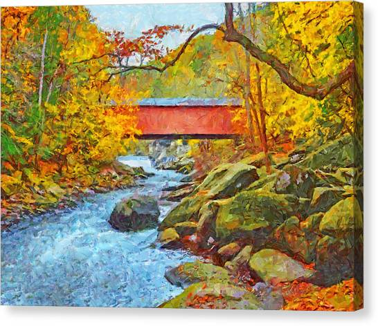 Canvas Print featuring the digital art The Covered Bridge At Mcconnells Mill State Park by Digital Photographic Arts