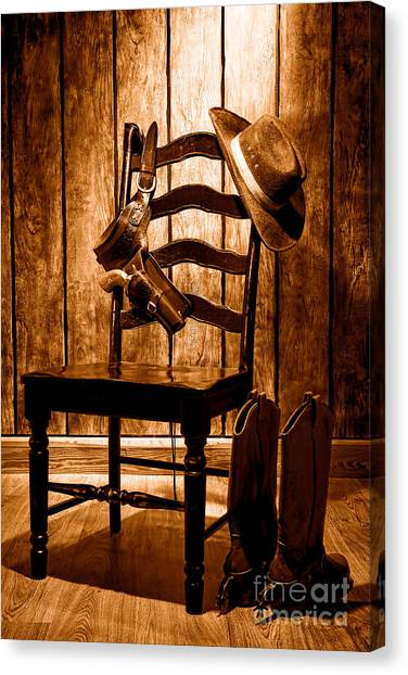 Cowboy Boots Canvas Print - The Cowboy Chair - Sepia by Olivier Le Queinec