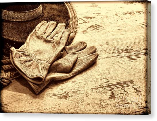 The Cowboy Gloves Canvas Print