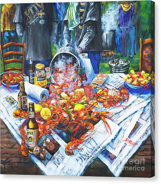 Saints Canvas Print - The Crawfish Boil by Dianne Parks