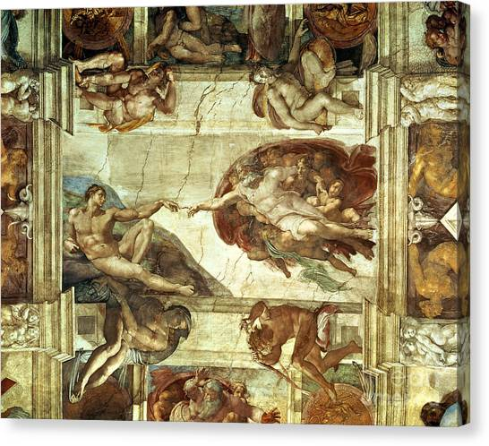 Old Testament Canvas Print - The Creation Of Adam by Michelangelo